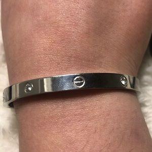 Silver Love bracelet with diamonds